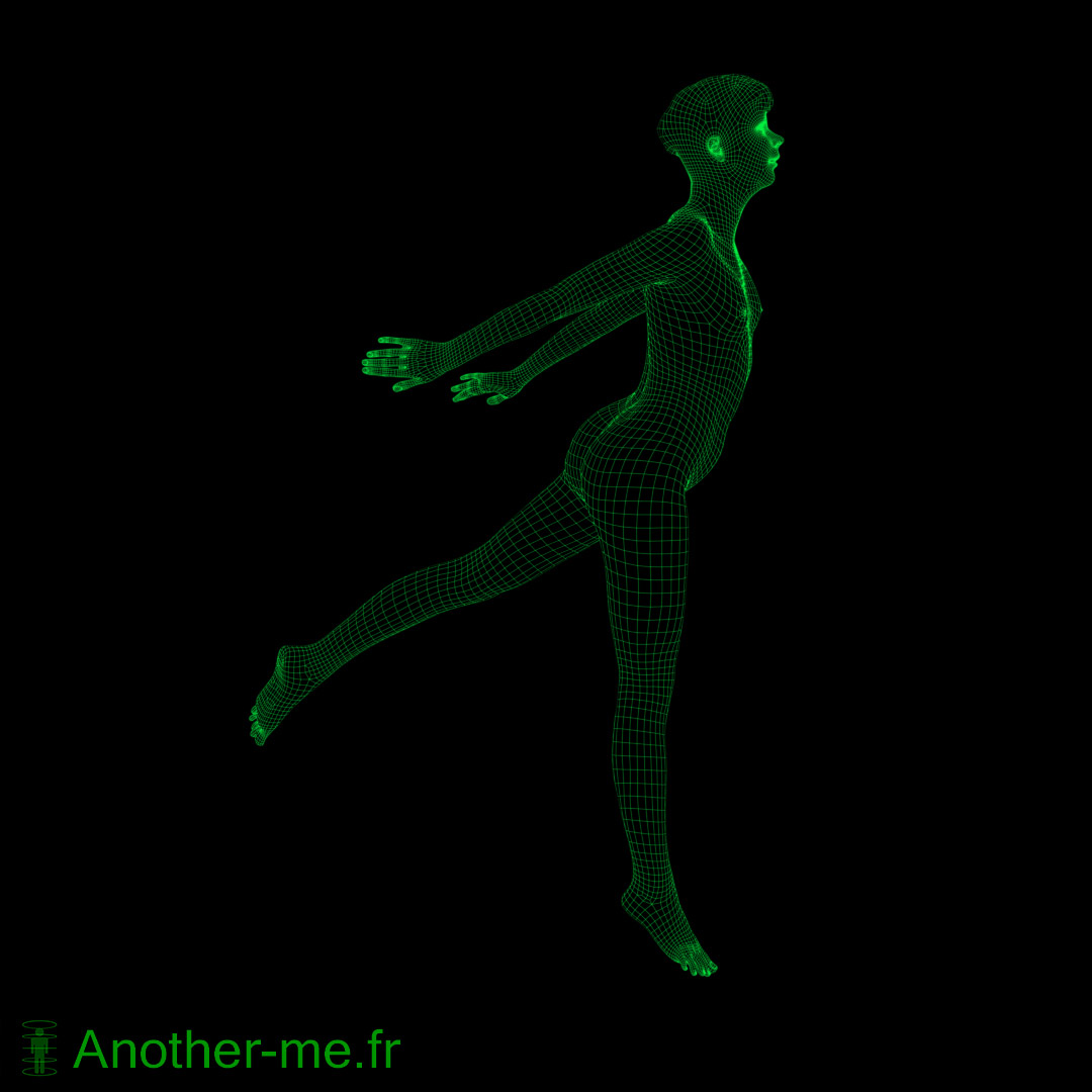 Dynamic 3D scan base topology of a jumping life model